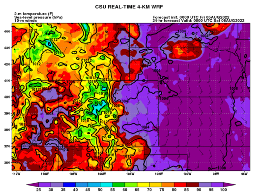 2-m temp, 10-m winds, MSLP (Colorado) (click image for animation)