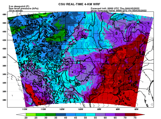 2-m dewpoint, 10-m winds, MSLP (full domain) (click image for animation)