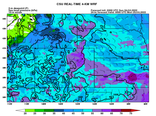 2-m dewpoint, 10-m winds, MSLP (Colorado) (click image for animation)