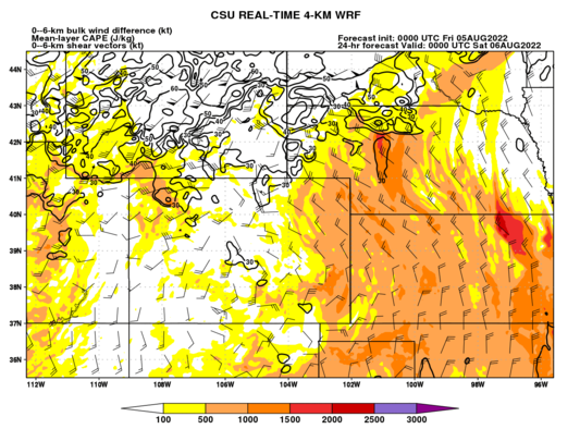 Mean-layer CAPE and 0–6-km shear (Colorado) (click image for animation)
