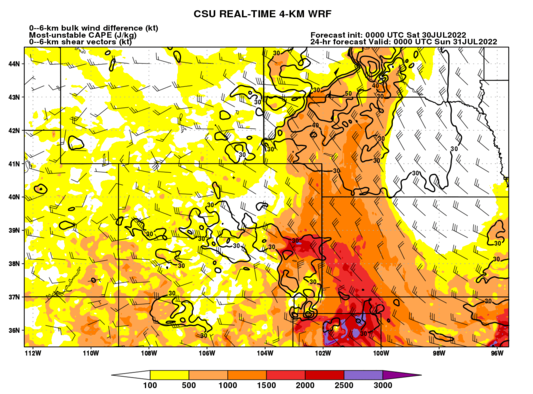Most-unstable CAPE and 0–6-km shear (Colorado) (click image for animation)